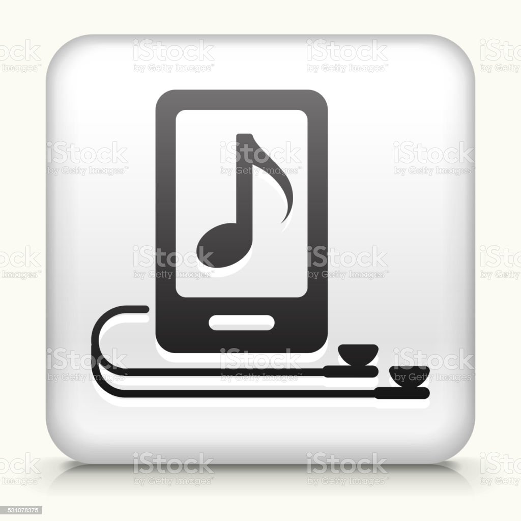 Square Button with Music Player and Headphones vector art illustration
