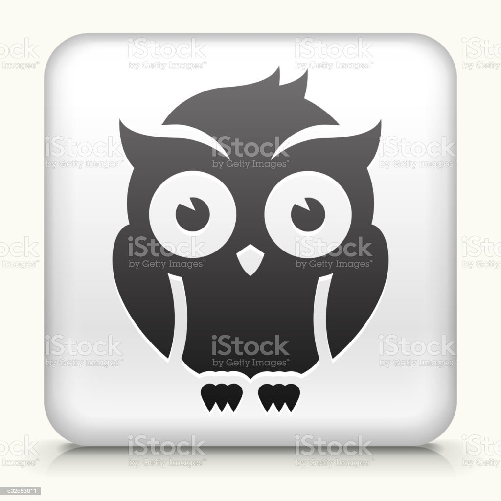 Square Button with Night Owl royalty free vector art vector art illustration