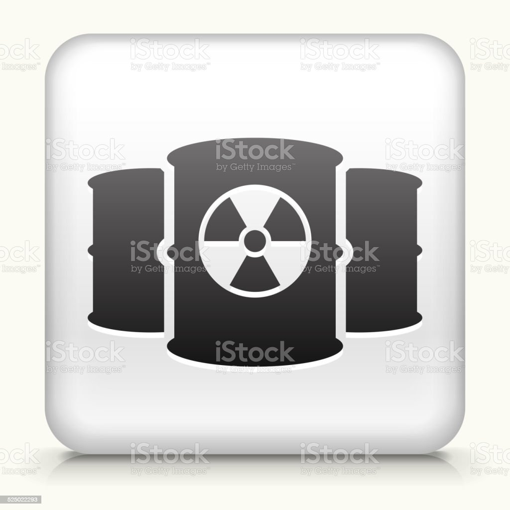 Square Button with Nuclear Barrels vector art illustration