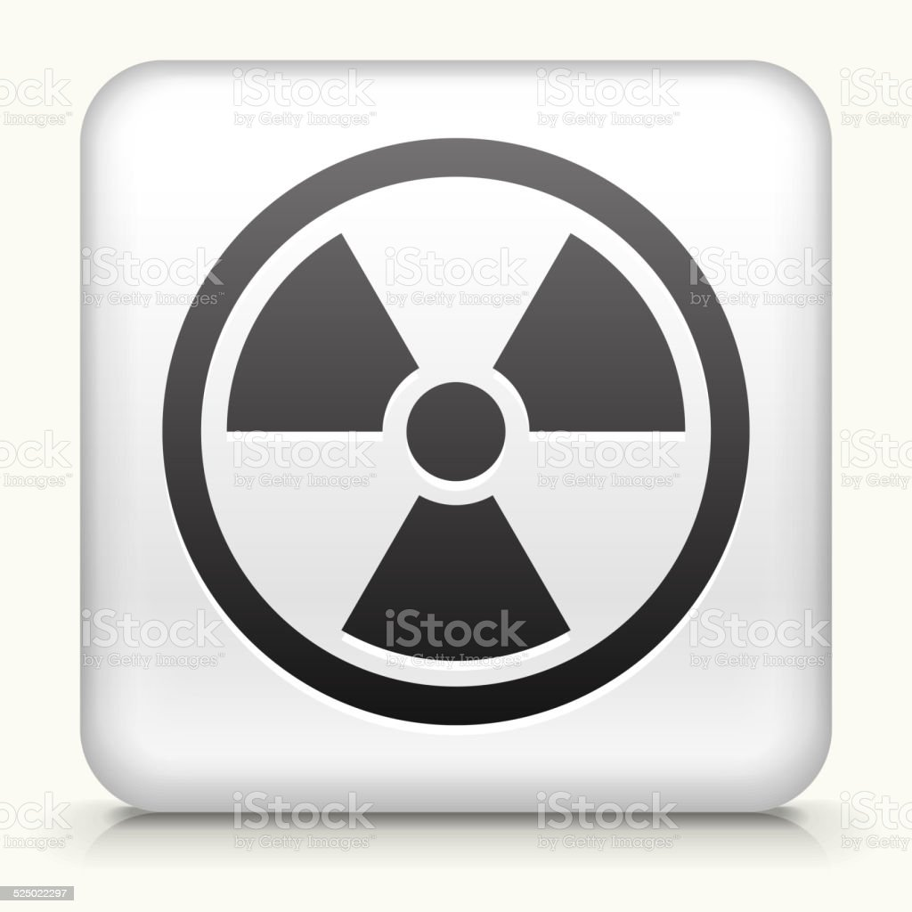 Square Button with Nuclear Symbol vector art illustration