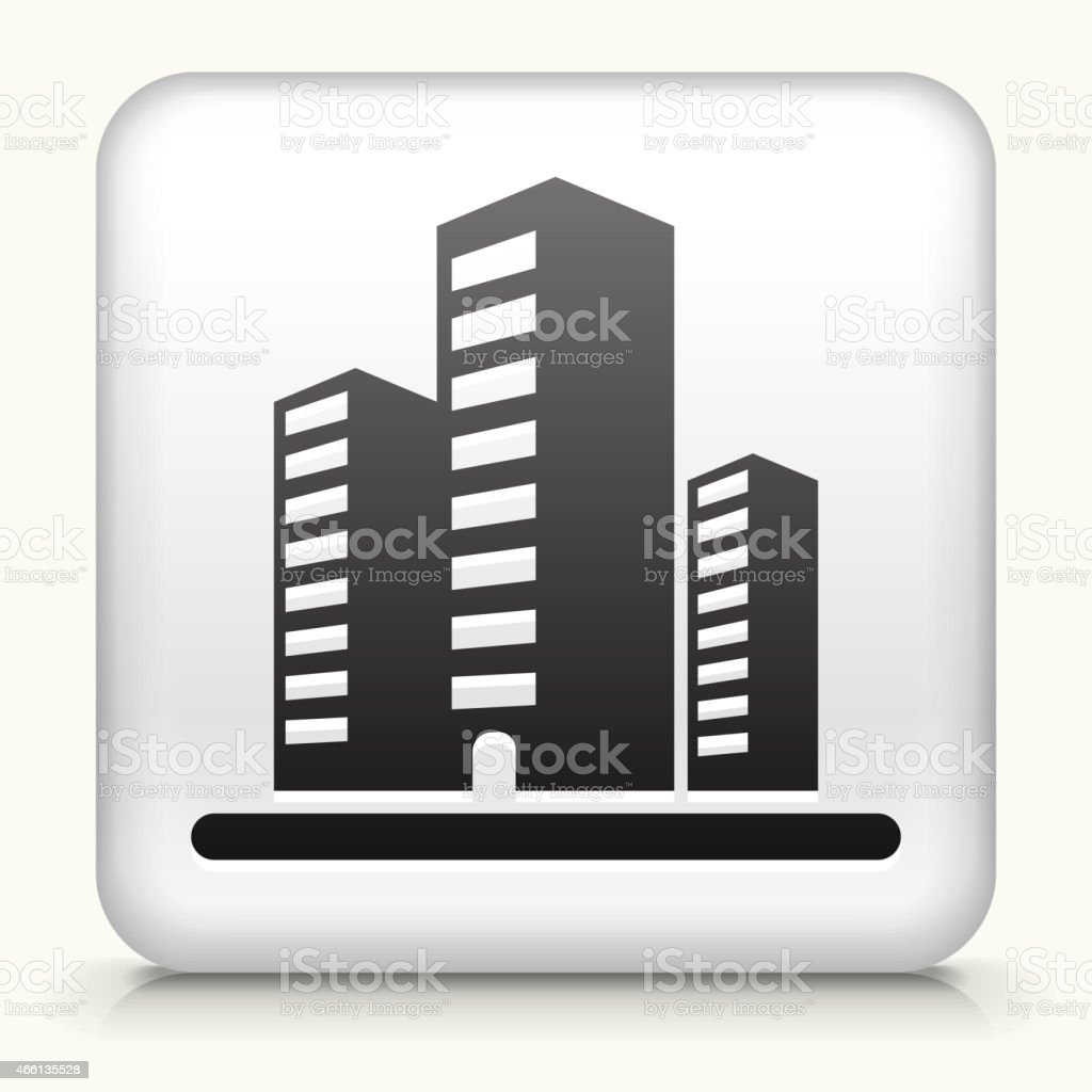 White Square Button with Office Buildings Icon vector art illustration