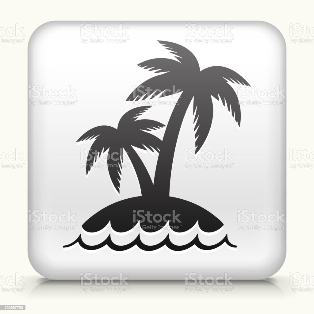 Square Button with Palm Tree Island vector art illustration