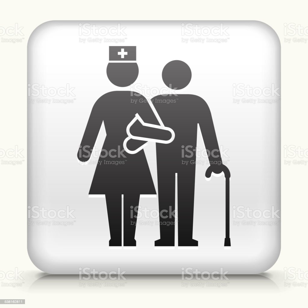 Square Button with Patient with woman Nurse vector art illustration