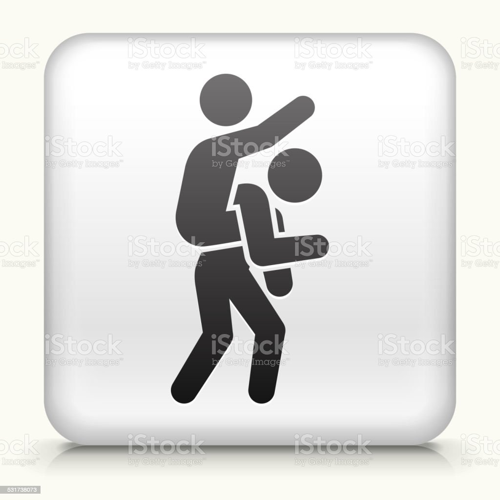 Square Button with Piggyback Ride vector art illustration