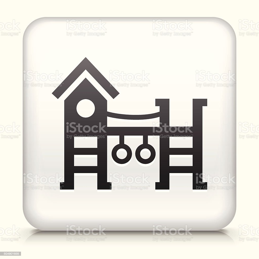 White Square Button with Playground Icon vector art illustration