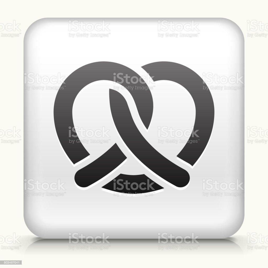 Square Button with Pretzel royalty free vector art vector art illustration