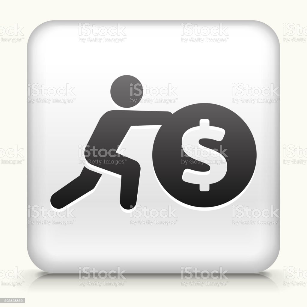 Square Button with Pushing Coin royalty free vector art vector art illustration