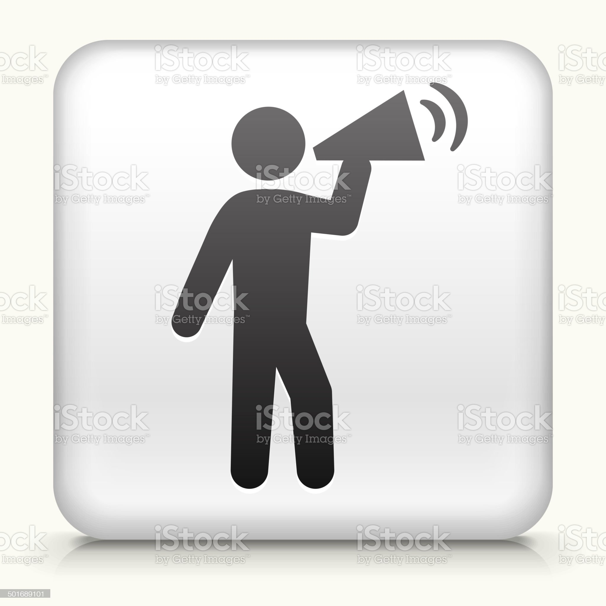 Square Button with Rally Megaphone royalty free vector art royalty-free stock vector art