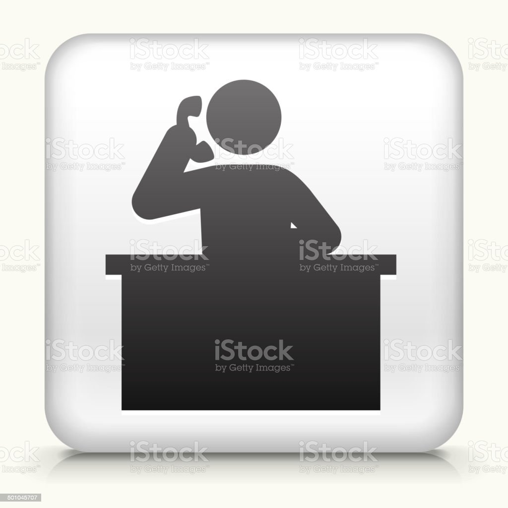 Square Button with Receptionist royalty free vector art vector art illustration