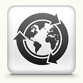Square Button with Recycle Globe