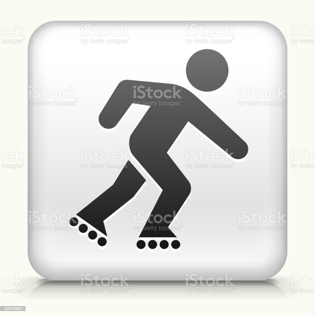 White Square Button with Roller Blading Icon vector art illustration