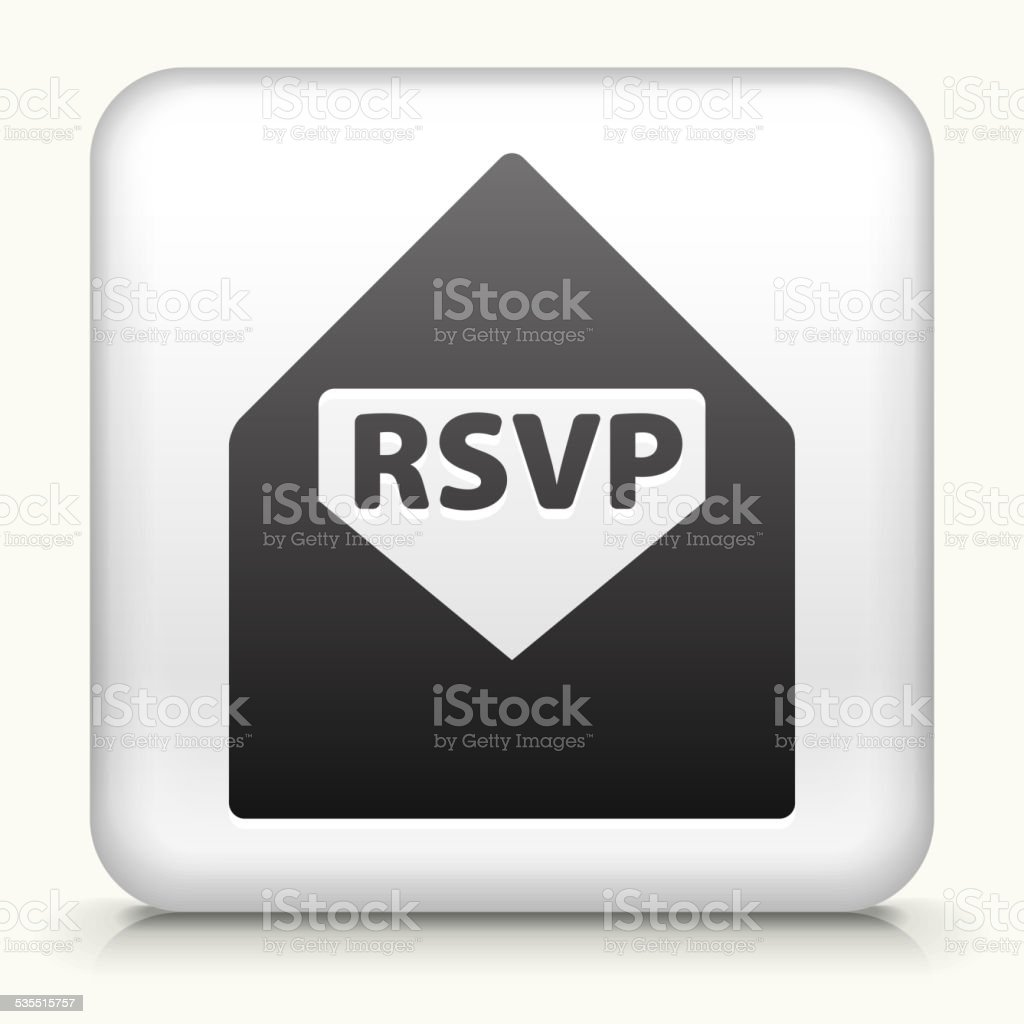 Square Button with RSVP royalty free vector art vector art illustration