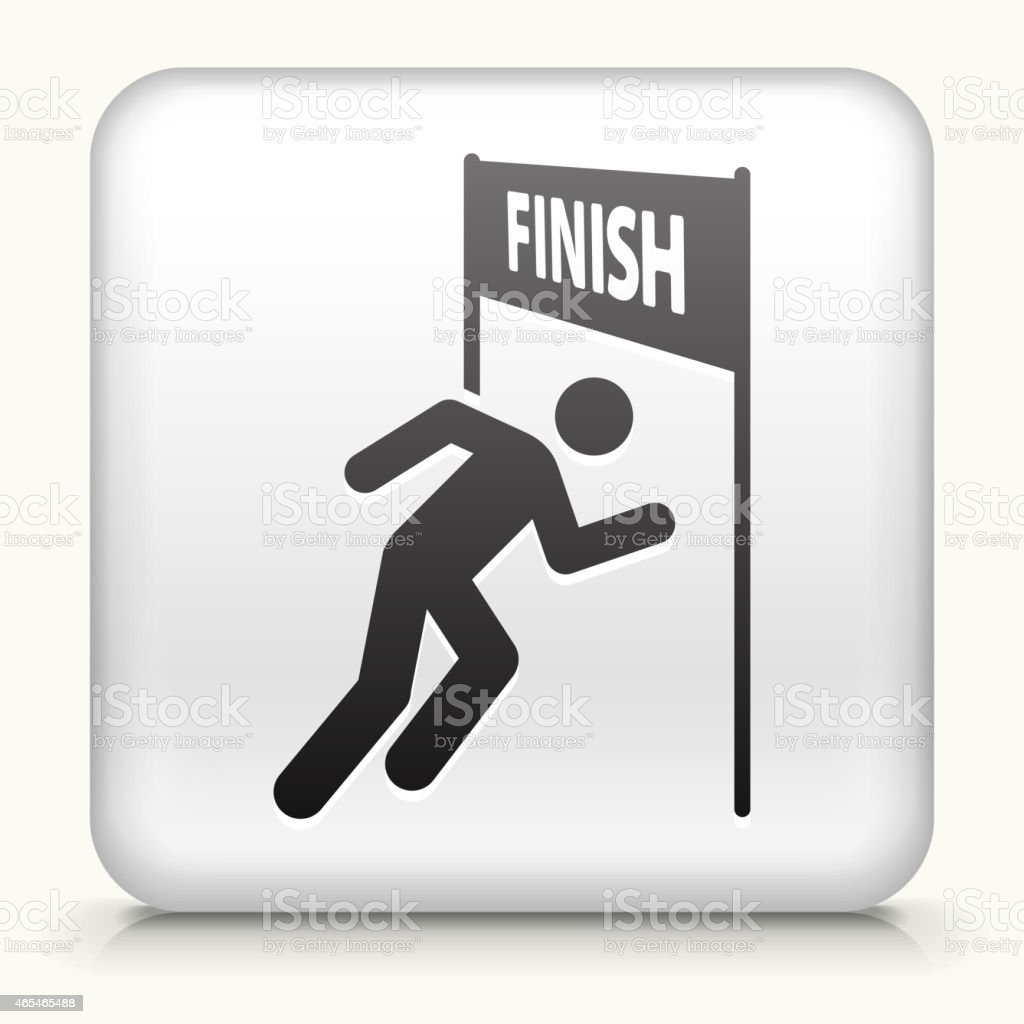 Square Button with Running Finish Line vector art illustration