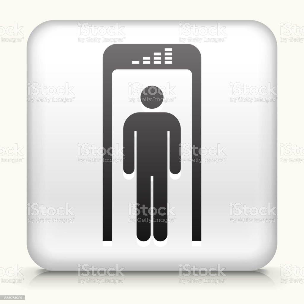 Square Button with Security Metal Detector royalty free vector art vector art illustration