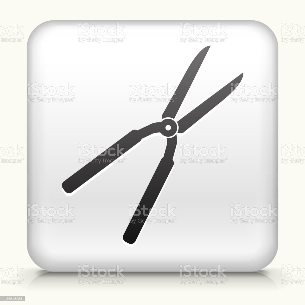 Square Button with Shears interface icon vector art illustration