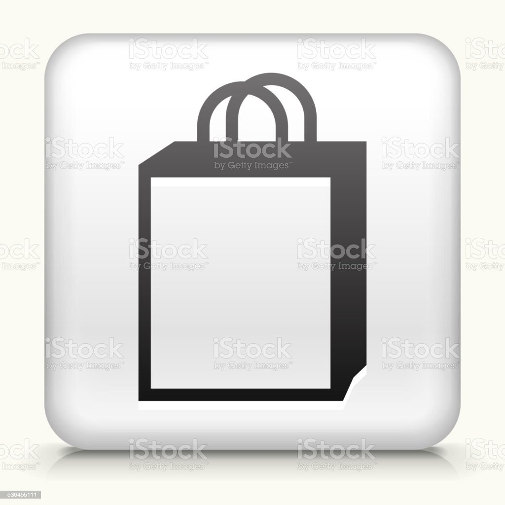 Square Button with Shopping Bag vector art illustration