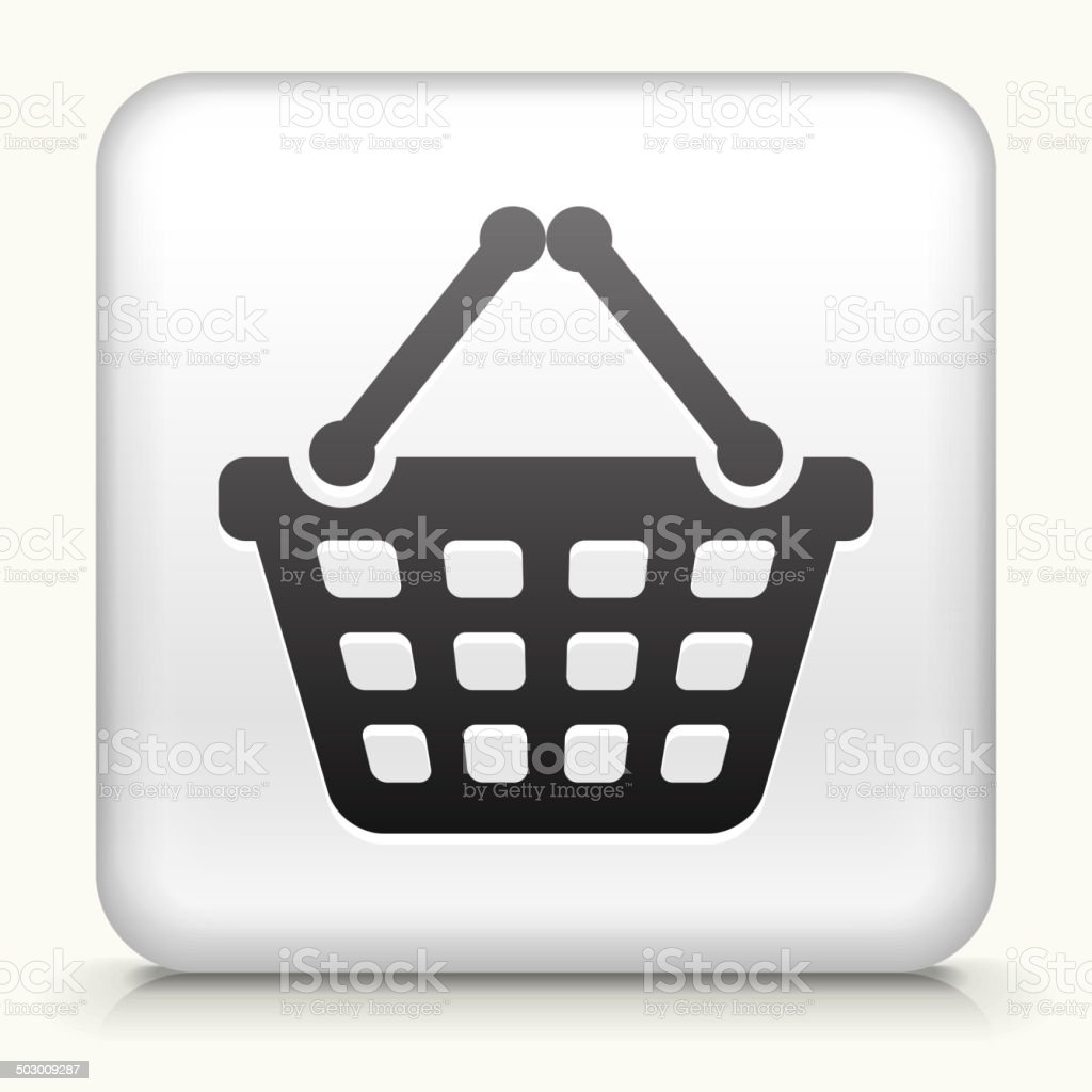 Square Button with Shopping Basket royalty free vector art vector art illustration