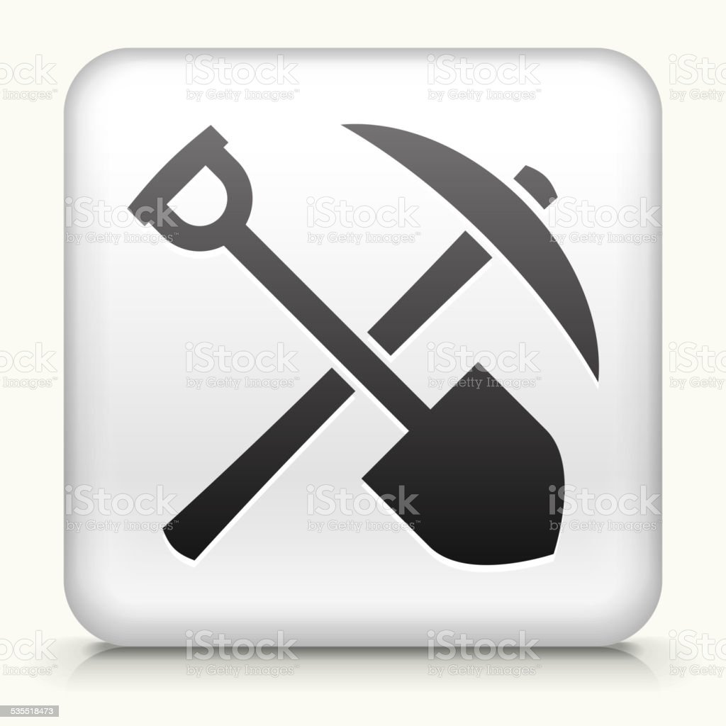 Square Button with Shovel & Pickaxe vector art illustration