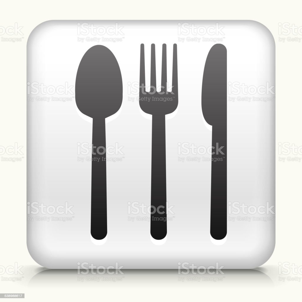 Square Button with Silverware royalty free vector art vector art illustration