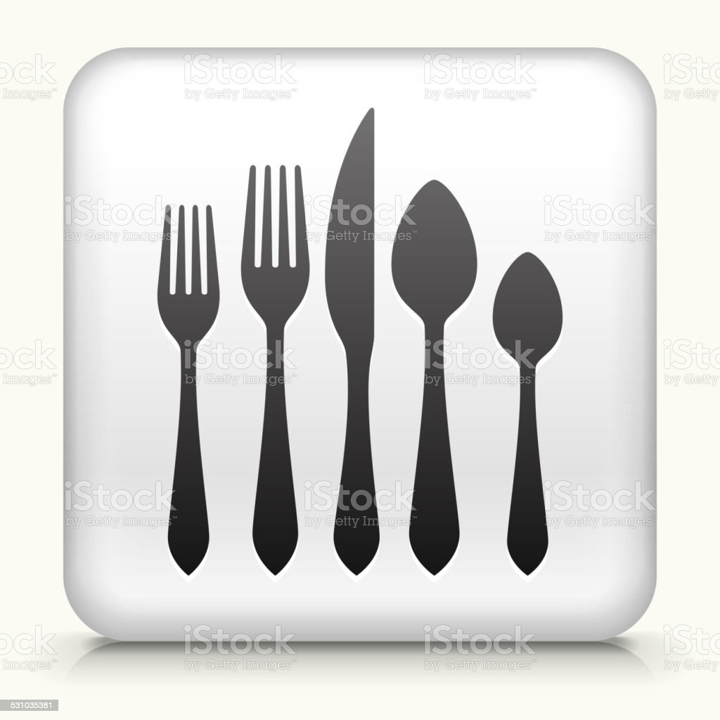 Square Button with Silverware Set vector art illustration