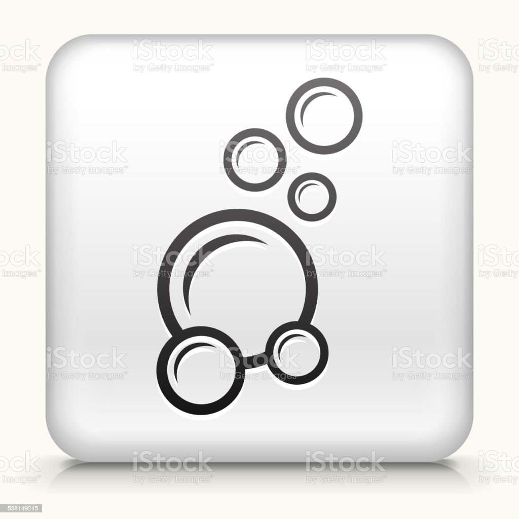 White Square Button with Soap Bubbles Icon vector art illustration