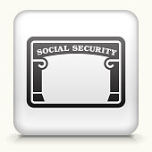 Square Button with Social Security royalty free vector art