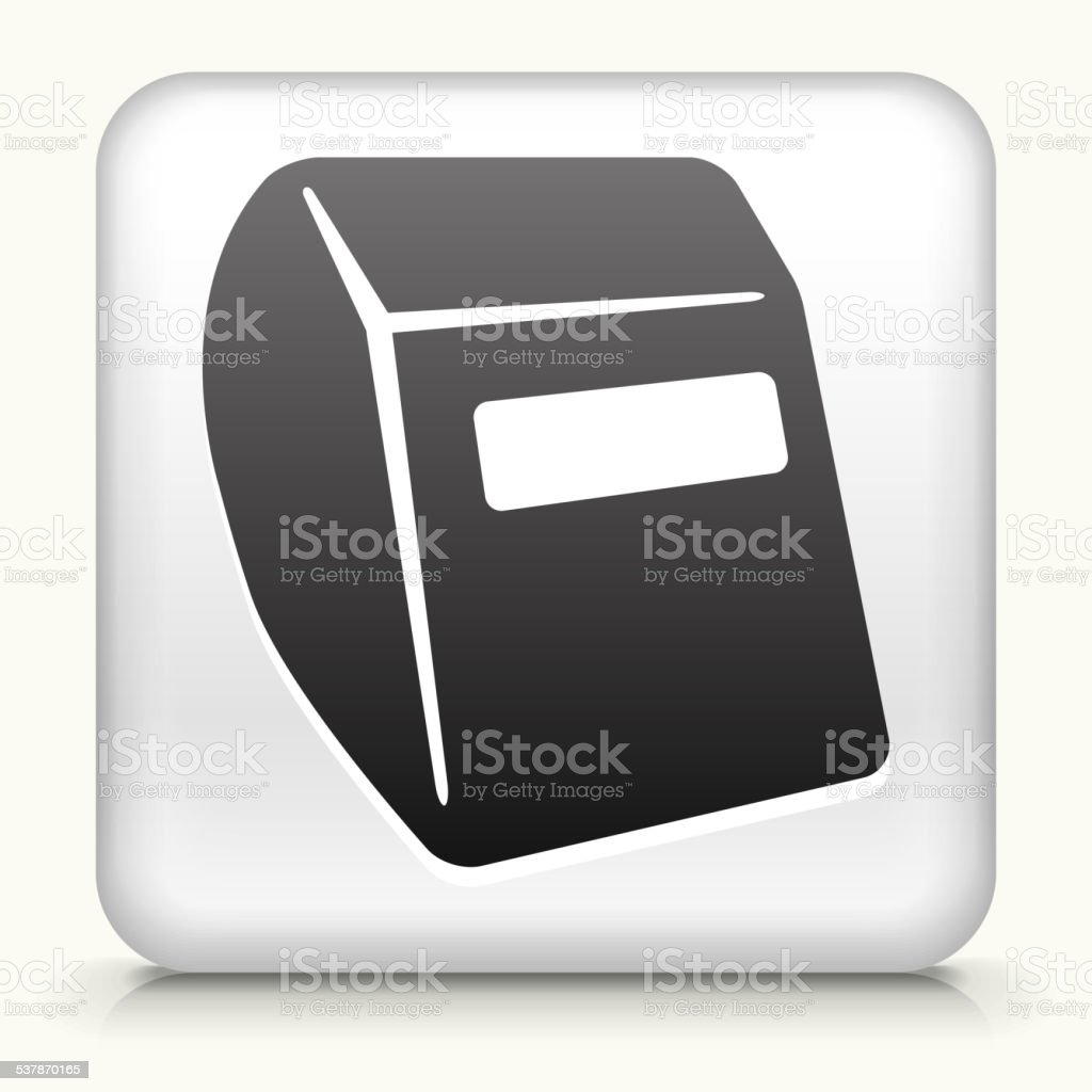 Square Button with Soldering Helmet royalty free vector art vector art illustration