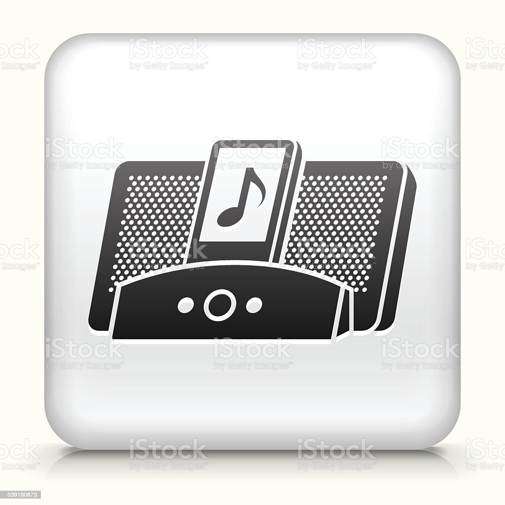 Square Button with Speakers royalty free vector art vector art illustration