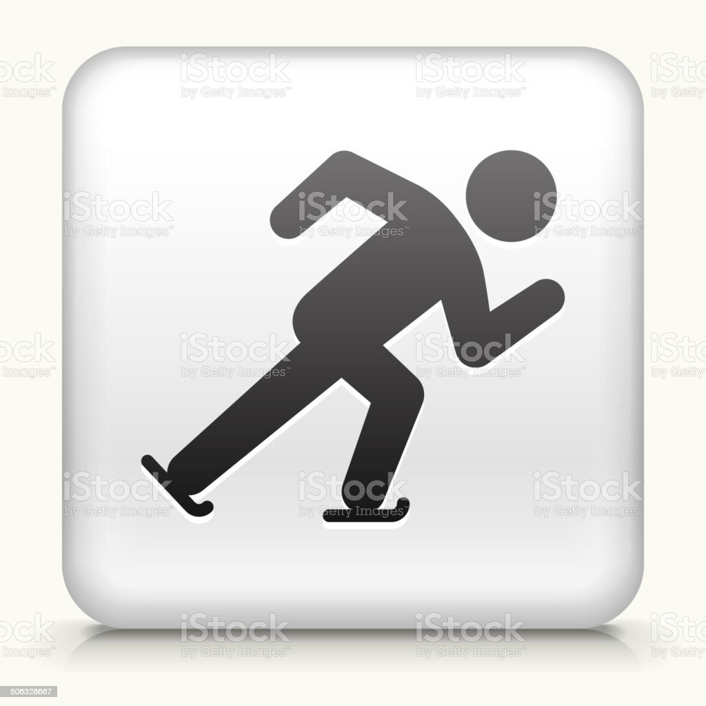 White Square Button with Speed Skating Icon vector art illustration