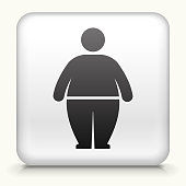 White Square Button with Stick Figure and Weight Gain