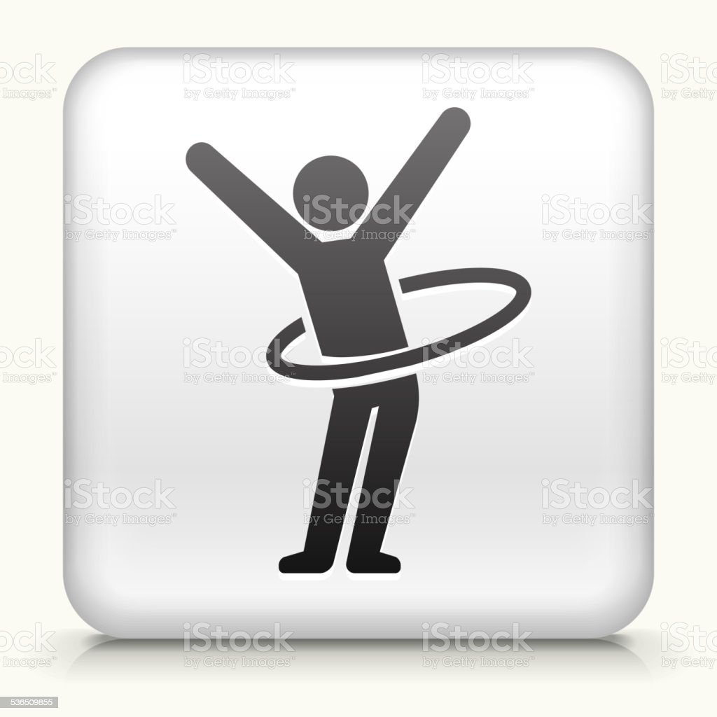 Square Button with Stick Figure Hula Hooping vector art illustration