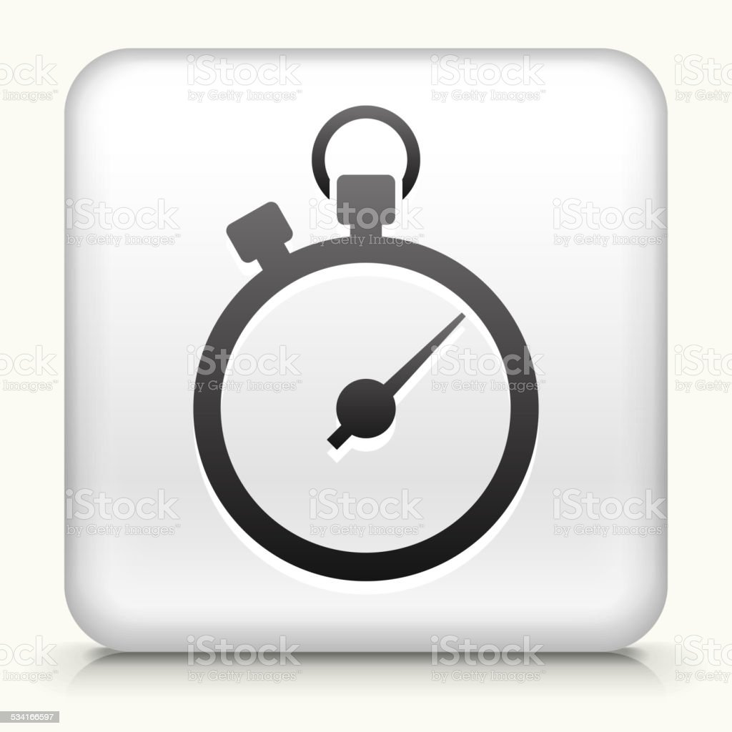 Square Button with Stopwatch royalty free vector art vector art illustration