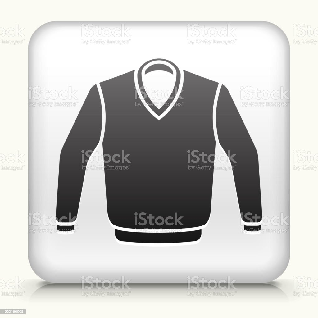 Square Button with Sweater royalty free vector art vector art illustration