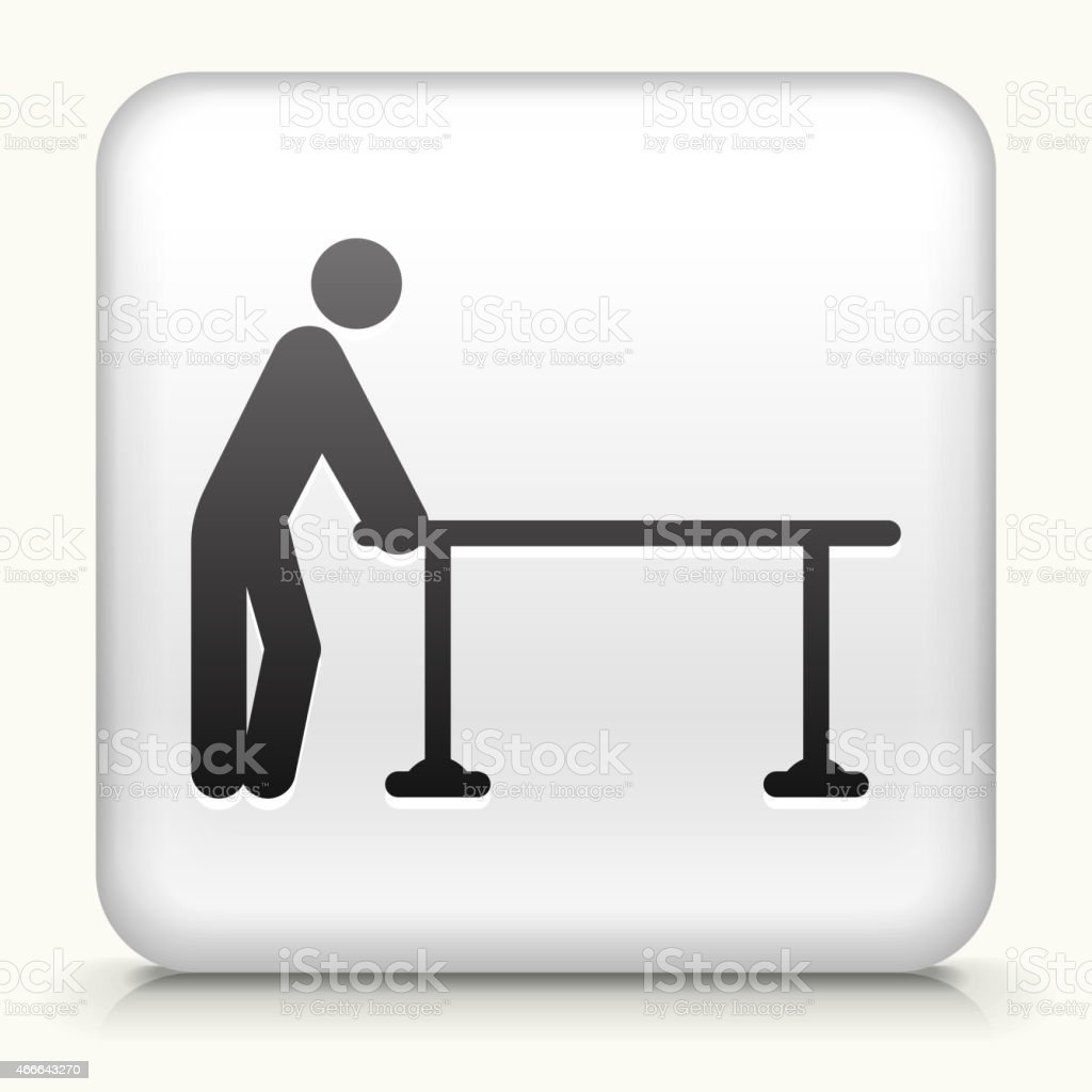 White Square Button with Table & Stick Figure vector art illustration