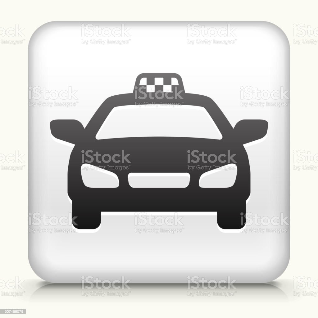 Square Button with Taxi Cab royalty free vector art vector art illustration