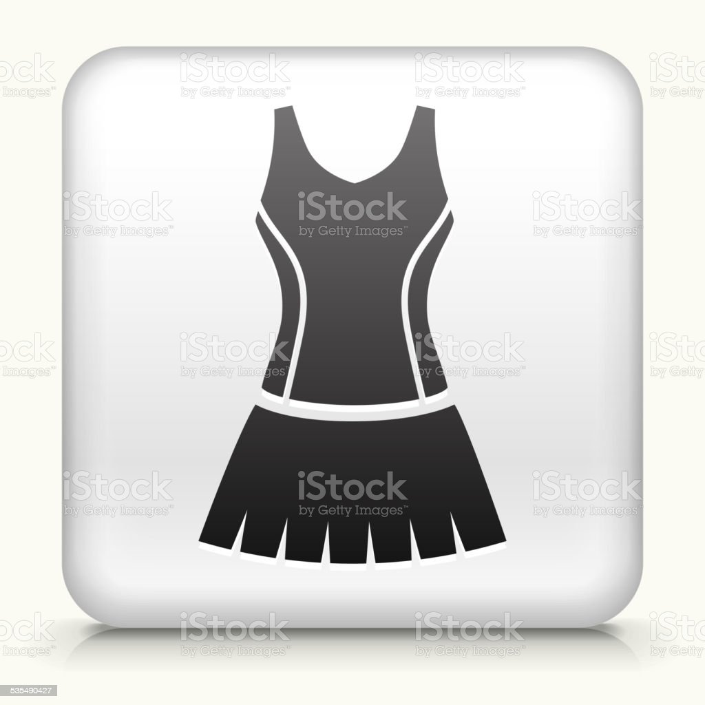 White Square Button with Tennis Outfit Icon vector art illustration