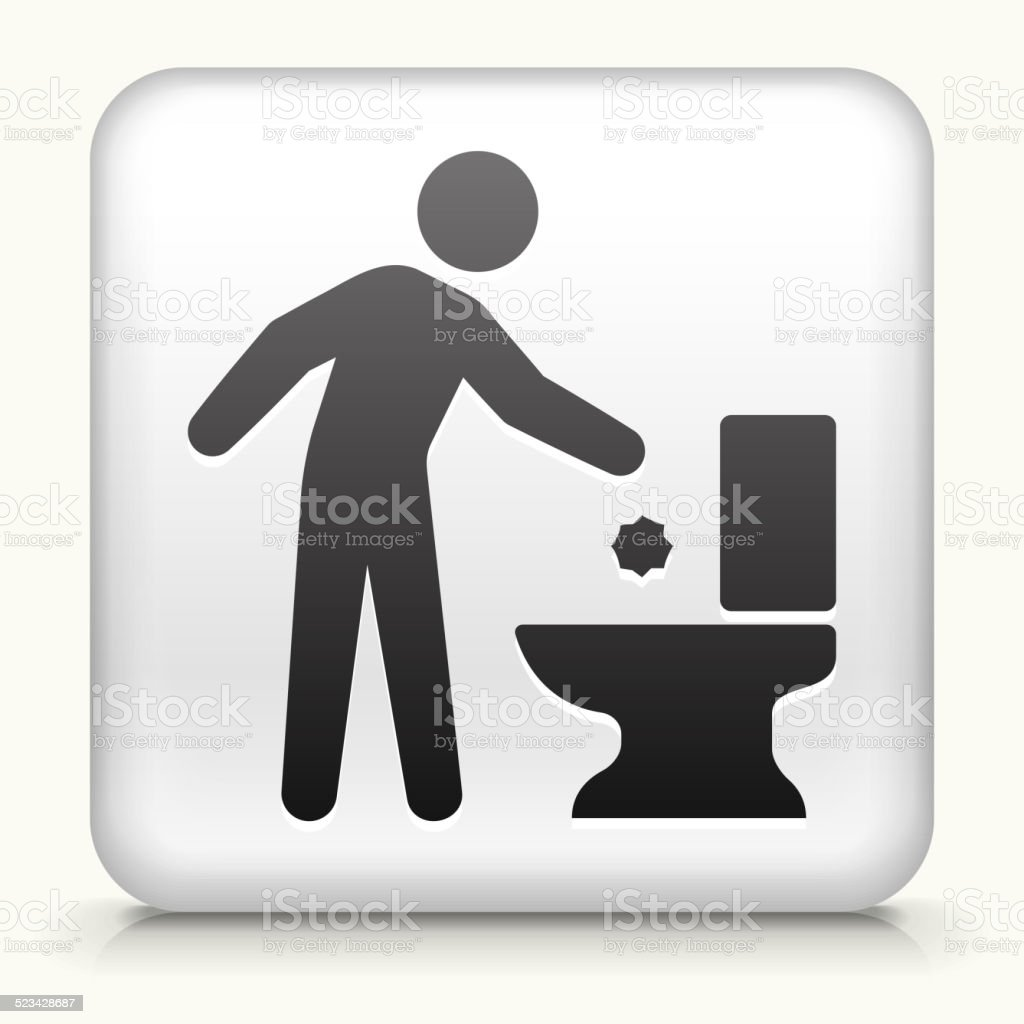 White Square Button with Throwing Away Trash vector art illustration