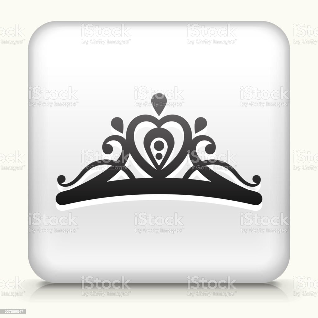 Square Button with Tiara royalty free vector art vector art illustration