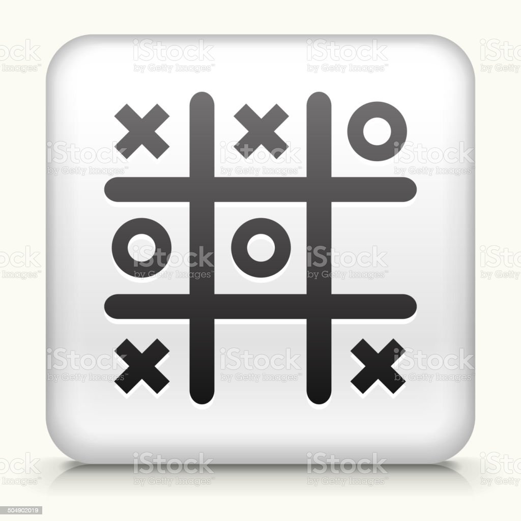White Square Button with Tic Tac Toe Icon vector art illustration
