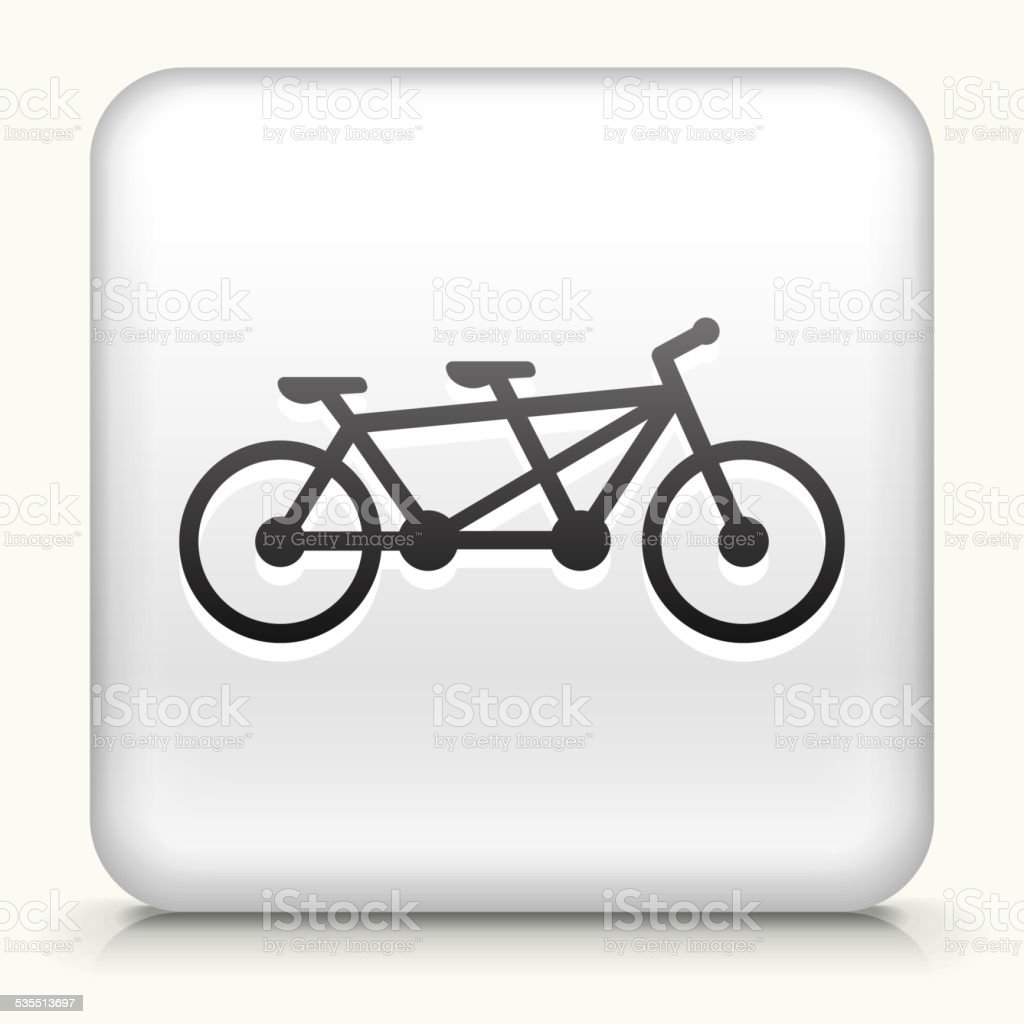 Square Button with Two Seater Bicycle royalty free vector art vector art illustration