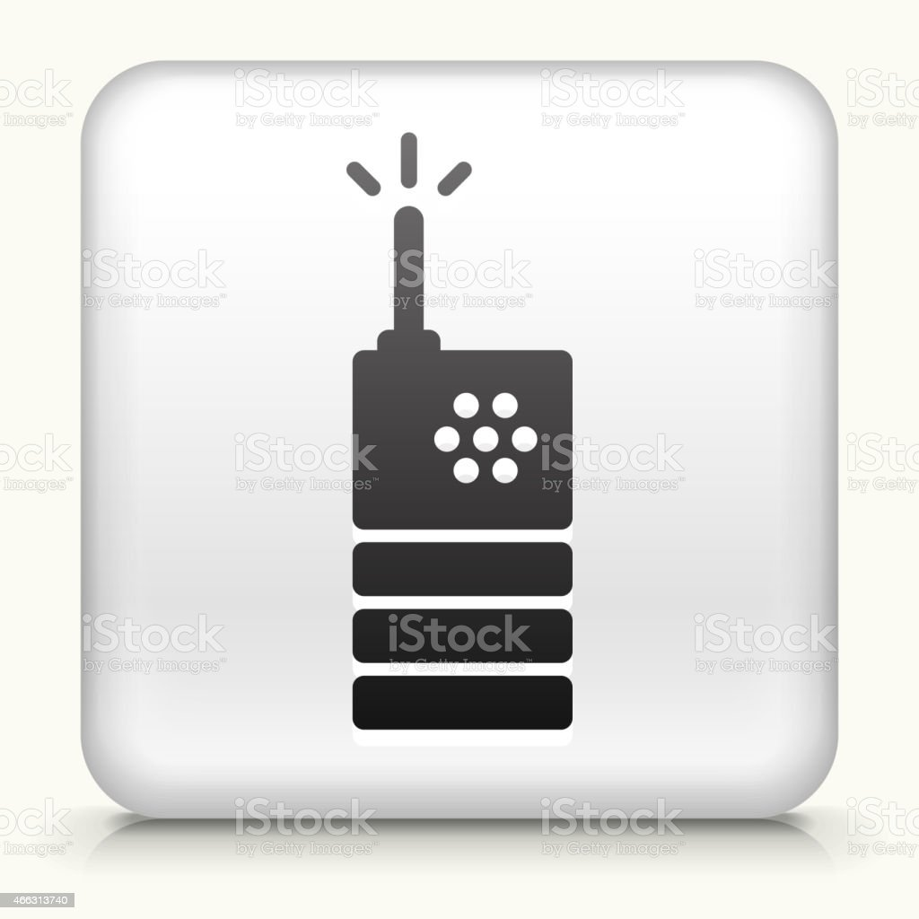 Square Button with Two Way Radio royalty free vector art vector art illustration