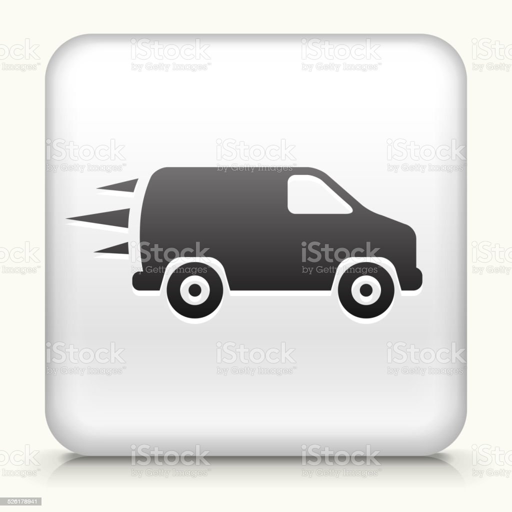 Square Button with Van royalty free vector art vector art illustration