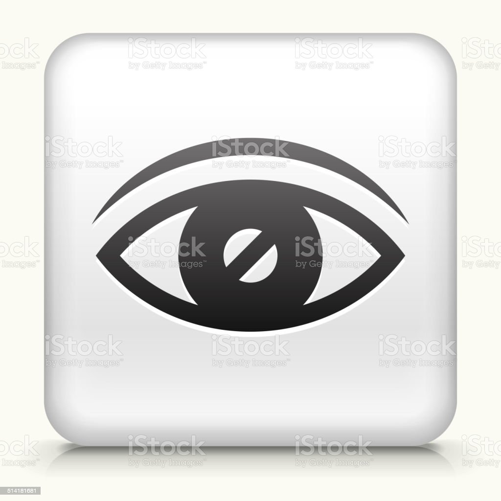 Square Button with Vision vector art illustration