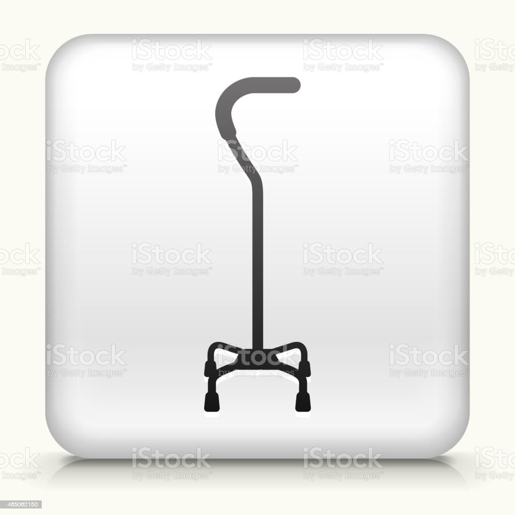 Square Button with Walking Stick royalty free vector art vector art illustration