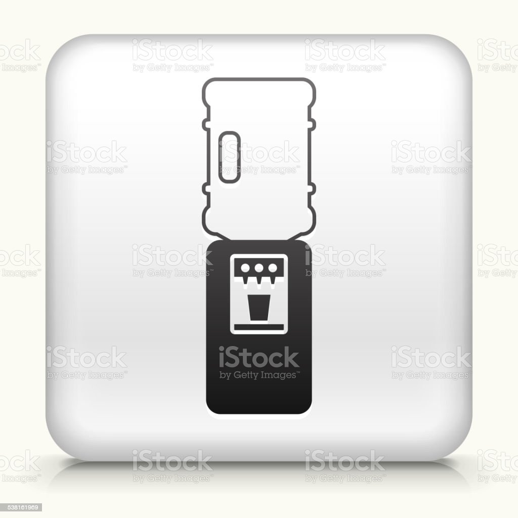 Square Button with Water Cooler royalty free vector art vector art illustration