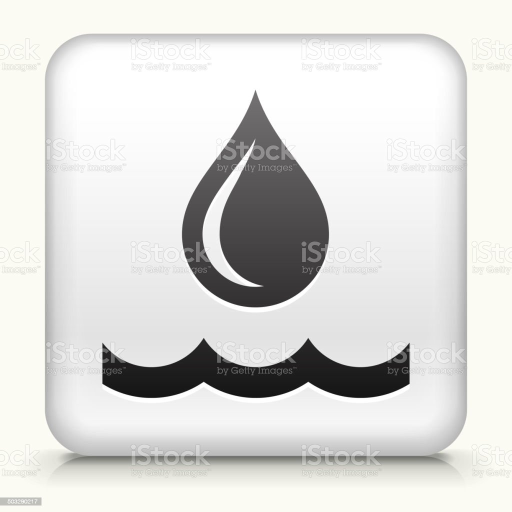 Square Button with Water Drop royalty free vector art vector art illustration