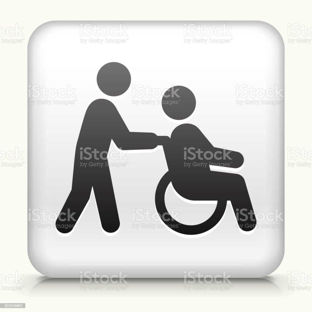 Square Button with Wheelchair Caregiver royalty free vector art vector art illustration