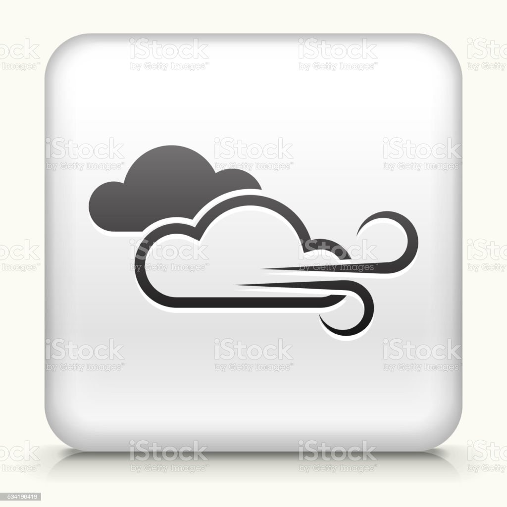 Square Button with Windy Weather vector art illustration