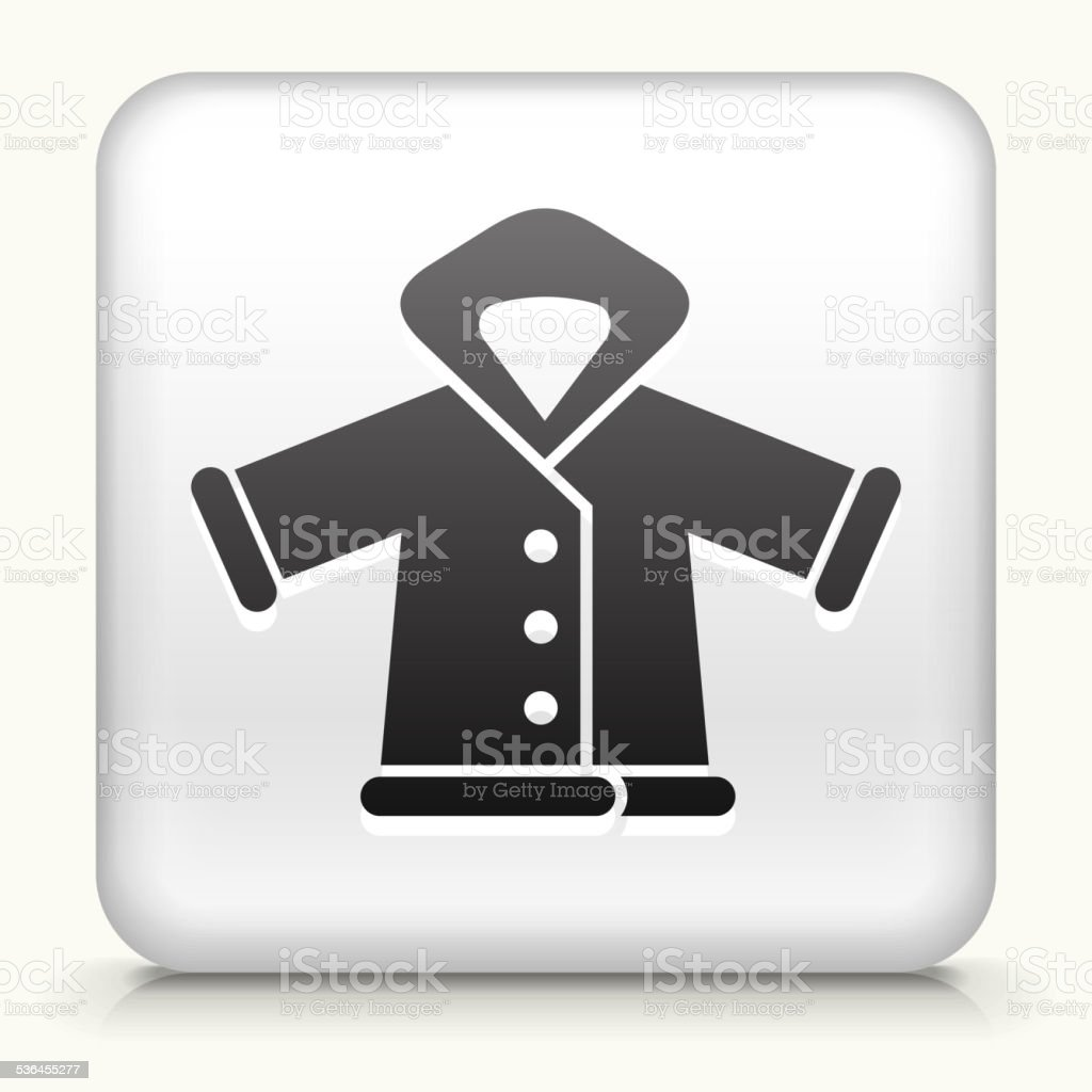 Square Button with Winter Jacket vector art illustration
