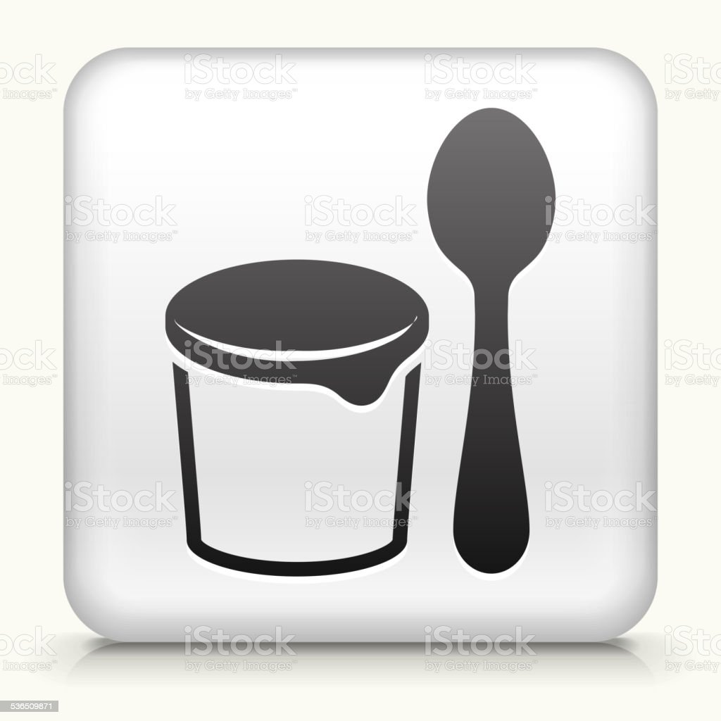 Square Button with Yogurt and Spoon vector art illustration